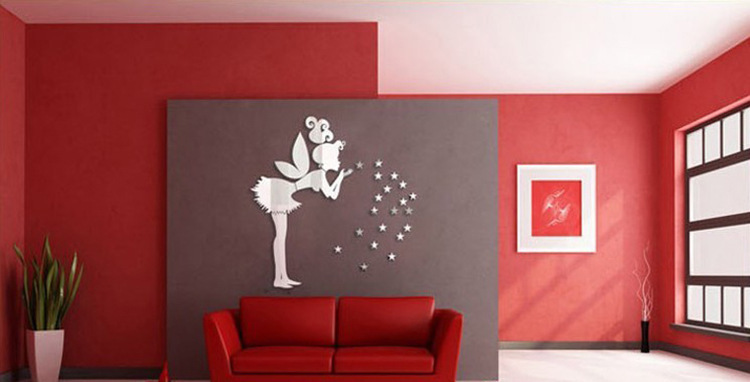 Aliexpress com Buy Fairy Stars Wall Mirror Stickers Decorative Girl Bedroom  Removable 3D Sticker J041 from. Wall Mirror Bedroom