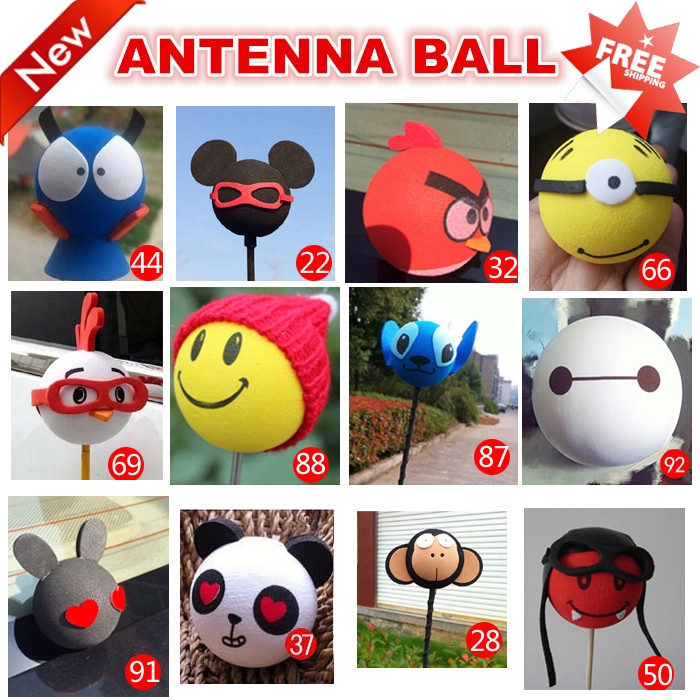 100 Pcs Car Antenna Toppers Balls Store Wholesale Mini Roof Stickers Top Sign Automotivo Aerial Decoration Ball Store 2015 New(China (Mainland))