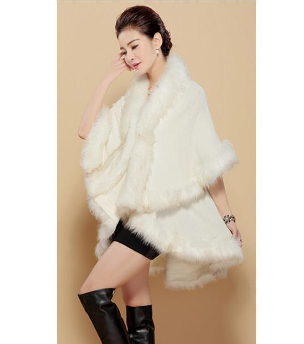 Wraps Scarves Double knit cardigan large size imitation cape fur shawl new women's winter fashion temperament Accessories(China (Mainland))