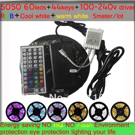 LED strip 5050 5M SMD 5050 LED RGB Strip Light Home Garden Decoration 300 LED Flexible Waterproof with +44Key IR Remote(China (Mainland))