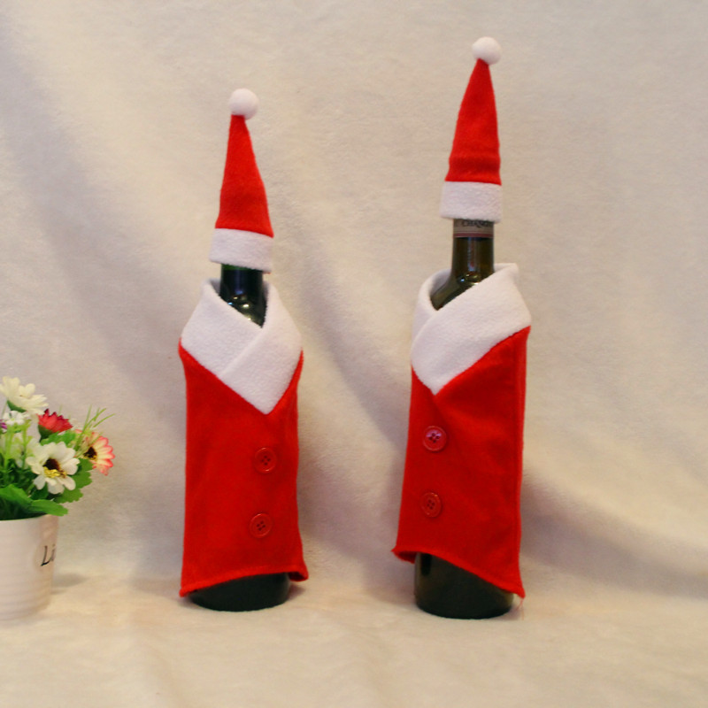 Funny Christmas Clothes Enfeites De Natal Barato Christmas Wine Bottle Cover 1 set Christmas Home Decoration