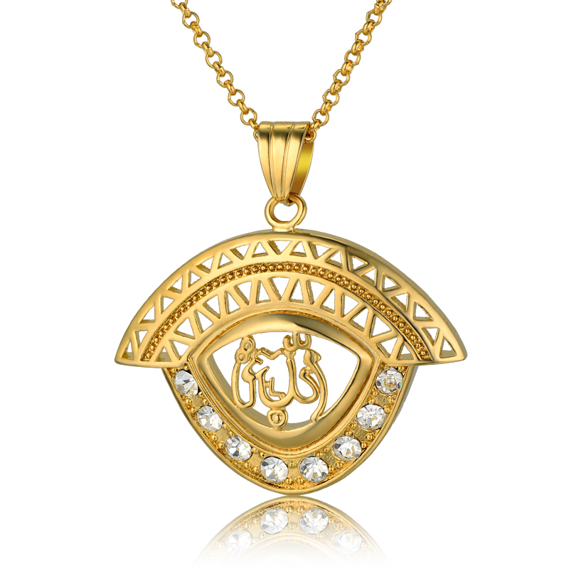 Collier Femme Islamic Allah Pendant Necklace Women Gold Plated Cubic Zircon Necklace True Religious Muslim Jewelry Wholesale(China (Mainland))