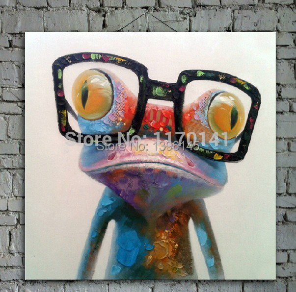 Cartoon Oil Painting on Canvas Abstract Animal Wall Art for Home Decoration 1pc Happy Frog 5cm strecth/ no frame(China (Mainland))