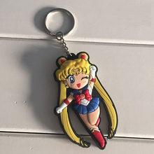2017 nova moda Brinquedos Clássico Anime Sailor Moon Usagi Tsukino Marte Júpiter Mercúrio Borracha Macia Boneca Figura Keychain(China)