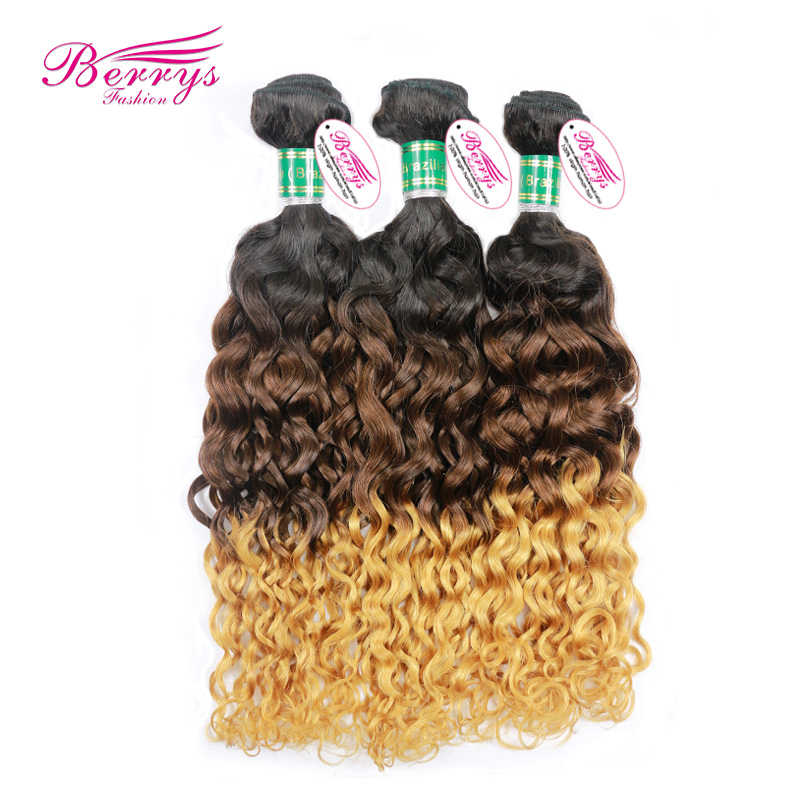 European virgin hair Italy curl 3pcs/lot ombre hair three tone1b/4#/27 human hair double wefts hair Extensions(China (Mainland))