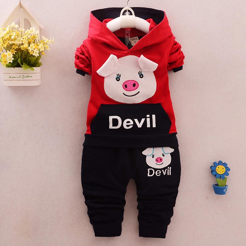 baby clothing sets Child hood sweater 2016 spring cartoon children's clothing sets baby clothing smock hedging cute pig siut(China (Mainland))