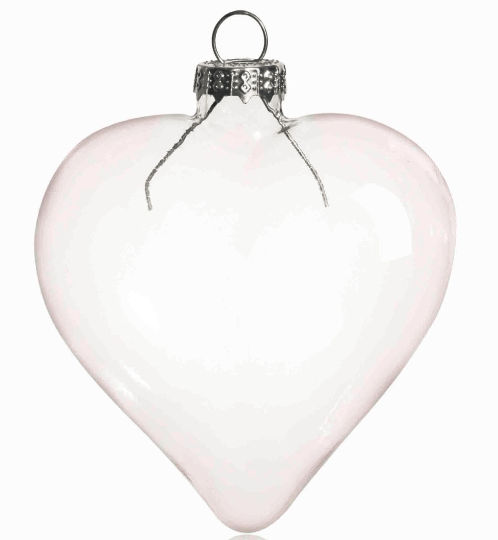 Clear glass ball ornaments - Promotion Diy Paintable Transparent Clear Christmas Ornament Decoration 80 70mm Heart Shape Glass With Silver Cap 5 Pack