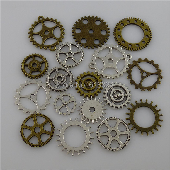 ( 17 pieces/lot) MIXED Vintage Silver / Bronze Alloy Wheel Gear Connector Pendant Making - jewelry style store
