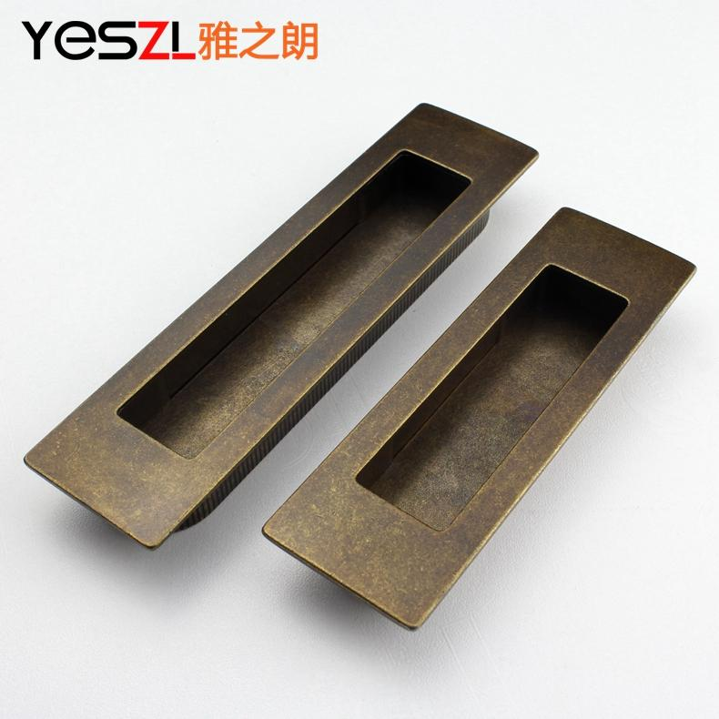 European copper invisible hidden drawer wardrobe cupboard handle Antique Furniture sliding door(China (Mainland))