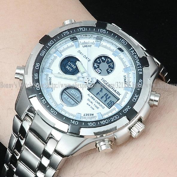 Гаджет  Fashion LED casual quartz watch men sports watches men luxury brand military Digital wristwatches full steel men watch Relogios None Часы
