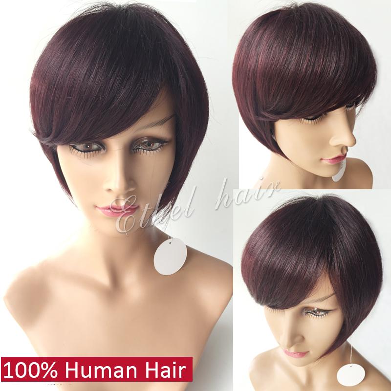 7a grade short 100% human hair bob wigs for black women 99j burgundy color african american layered bob cut wigs free shipping<br><br>Aliexpress