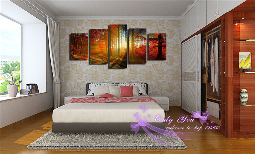 5 panels Wall Art Pictures Like A Travel Go To A Forest Beauty Life Printed Canvas Painting Home Decoration Printed Picture(China (Mainland))