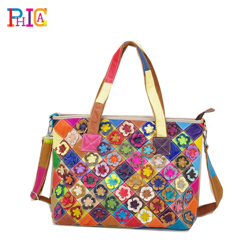Big Flower Bag Women Handbags Genuine Leather Cowhide Lady Real Large Tote Bags Generous Fashion - Phica store