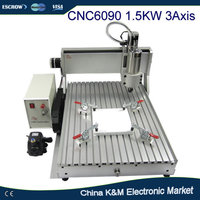 LY 1.5KW VFD water cooled spindle 3 Axis CNC 6090 engraving Machine carving machine lathe milling machine