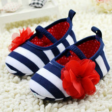 Toddler Girls Flower Crib Soft Stripes Elastic Casual Party Baby Shoes(China (Mainland))