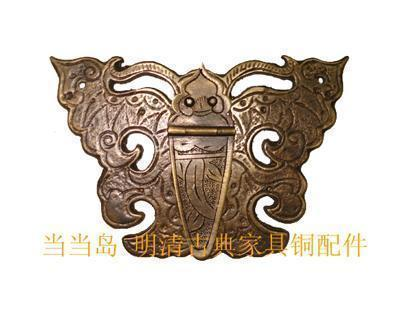 Copper antique furniture drawer handle with keyhole fittings butterfly models DH-138