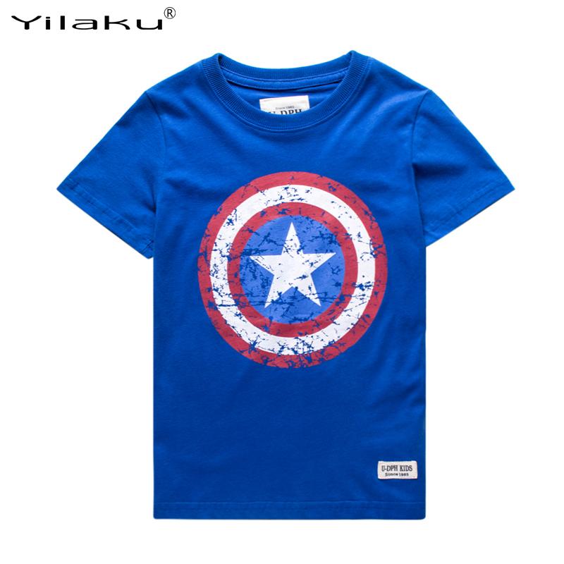 2016 Cotton Boys T-shirts Captain America Short Children t shirt For 1~11 Y Boy Cartoon Tops Tees Summer Kids Clothes CG050(China (Mainland))