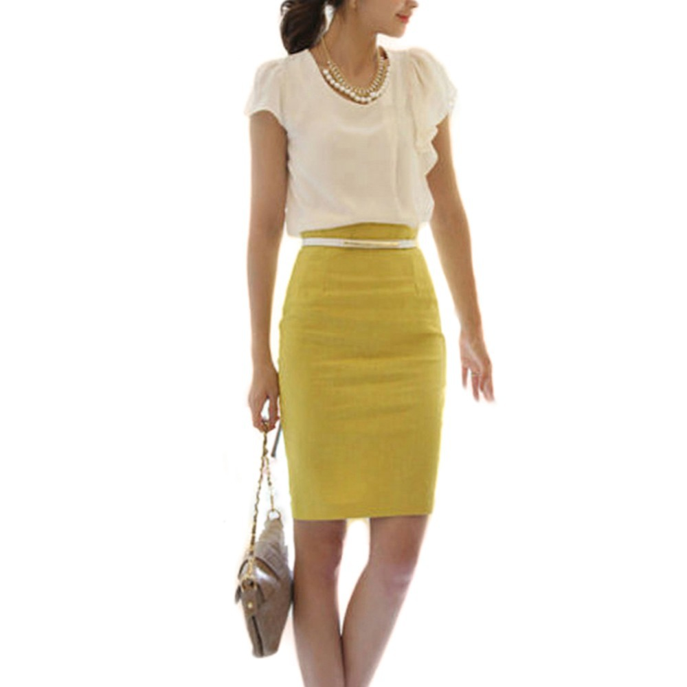 ol s slim fitted knee length pencil skirt high waist