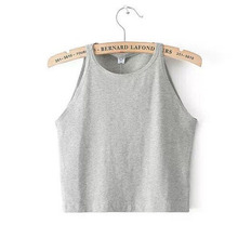 2015 Summer Style Halter Top 6 Color Bustier Crop Top Short T Shirt Fitness Tank Top Cropped Vintage Halter Sport Wear Sexy Tees(China (Mainland))