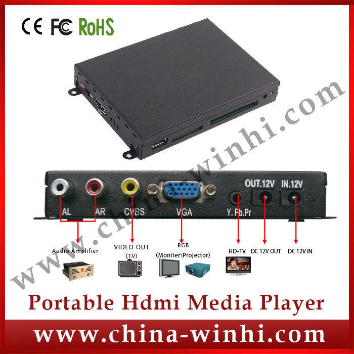 Metal shell supermarket USB SD CF YPbPr vga media player advertising equipment Guaranteed 100% Manufacturer Hot Products(China (Mainland))