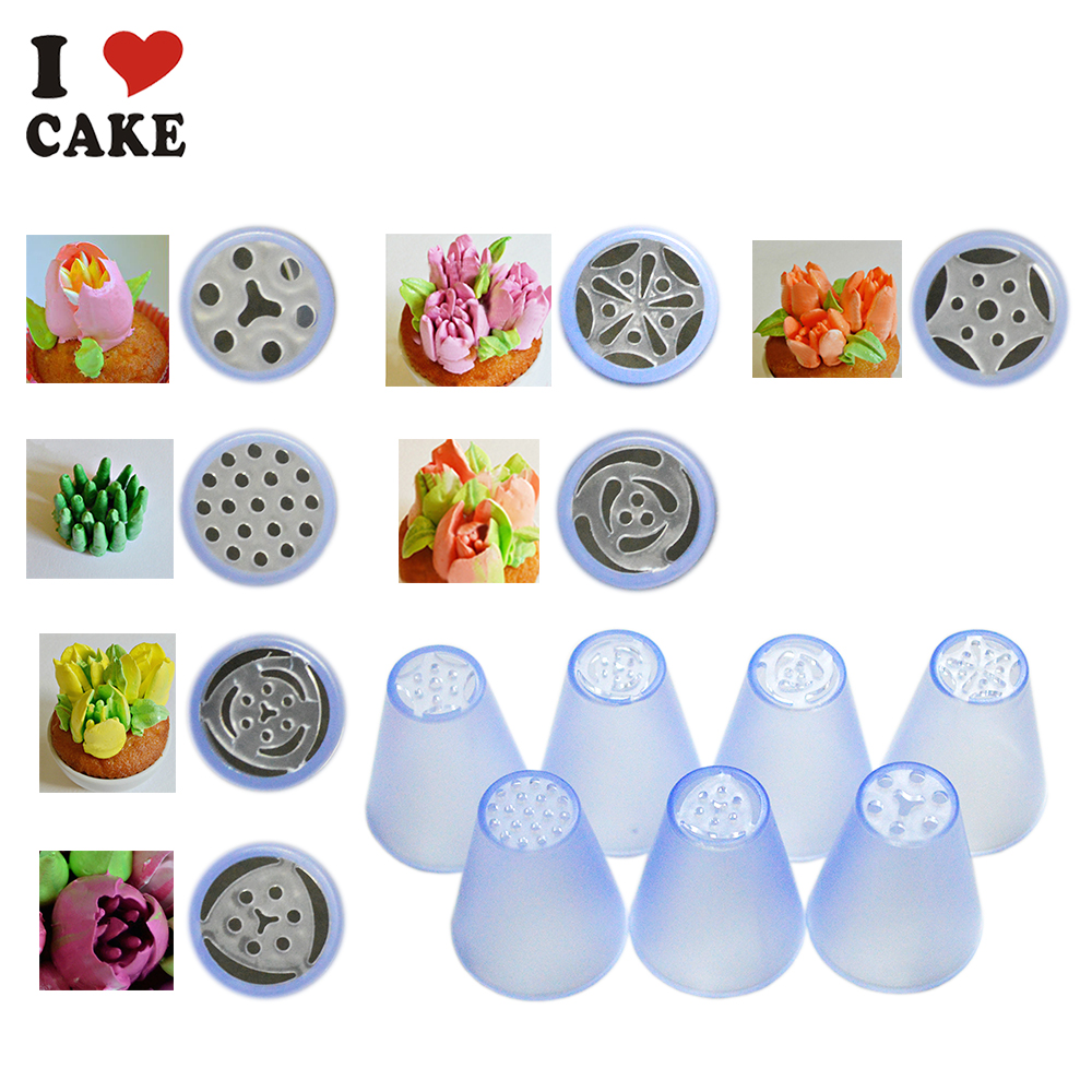 Living Room Decorator Tips 7pcslot russian tulip plastic icing piping nozzles making flower mold pastry decorating tips cake cupcake decorator on aliexpress