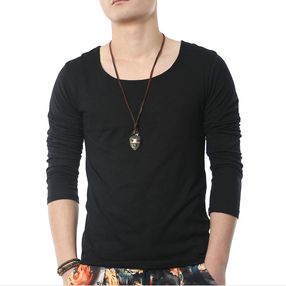 Fashion solid long sleeve t shirts men square collar for Mens shirt collar styles