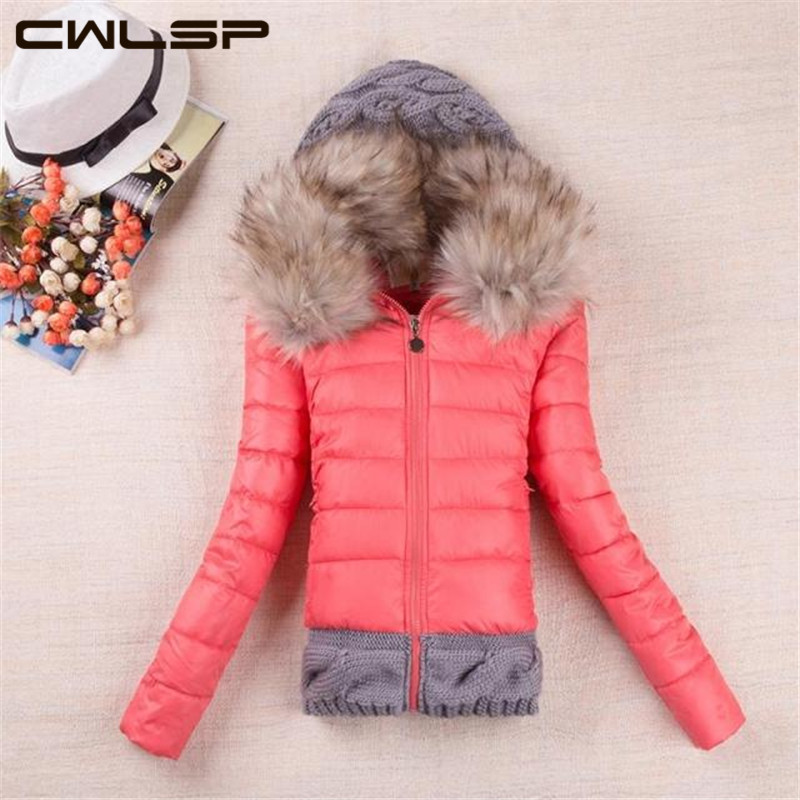 CWLSP 2015 Winter Thickening With a Hood Short Design Wadded Jacket Large Fur Collar Down Jacket Cotton-Padded Fur Collar SH114(China (Mainland))