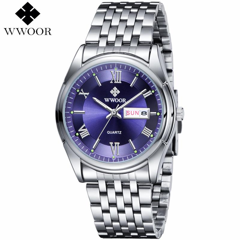 Orologi WWOOR Mens Watches Top Brand Luxury Date Stainless Steel Relojes Clock Dress Men Casual Quartz Watch Sport Wristwatches(China (Mainland))