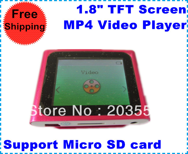 "Free Shipping MP4 Media Player 1.8"" TFT Screen,Multi-languages,Support Micro SD card and FM radio,5 Different Colors Available(China (Mainland))"