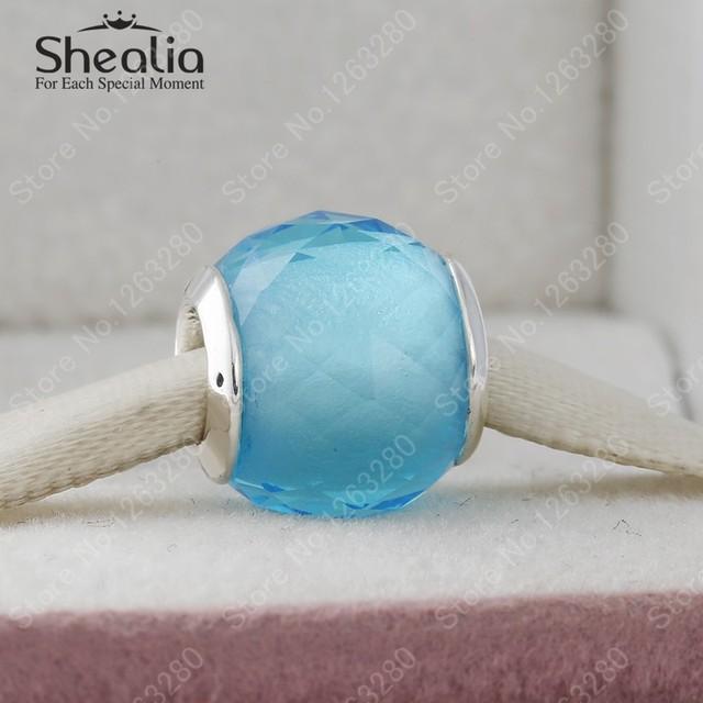 Голубой кристалл геометрическая граненные стерлингового серебра 925 темы шар подвески для женщин браслеты DIY ювелирных украшений аксессуары BD327