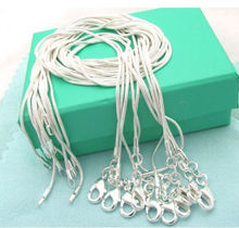 5pcs wholesale (16 18 20 22 24inches) Beautiful fashion silver Plated charm 1MM snake chain Necklace TOP quality  jewelry(China (Mainland))
