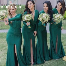 Buy Sexy High Slit Mermaid Green Bridesmaid Dresses 2017 Soft Satin Long Sleeves Bridesmaid Gowns Prom Dress Party Vestido Madrinha for $68.85 in AliExpress store