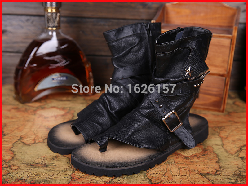 Classic 2016 New Brand Gladiator Men Sandals Black Men Flats Shoes Sandals Rivets Star Italian Men Shoes Ankle Motorcycle Boots<br><br>Aliexpress