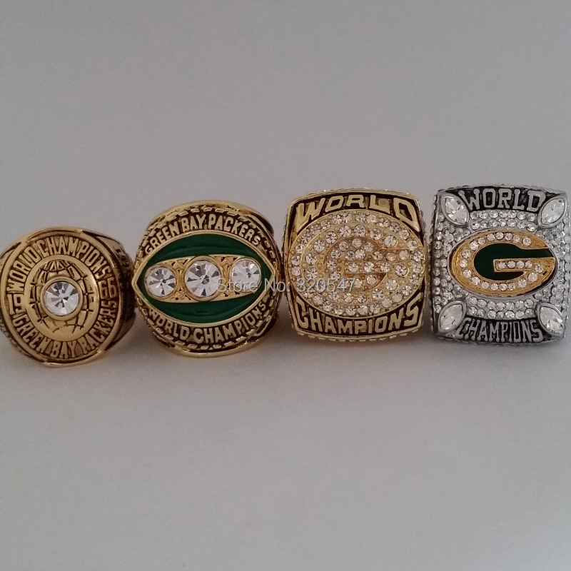 Free Shipping 4pcs 1966 1967 1996 2010 Green Bay Packers SUPER BOWL Ring CHAMPIONSHIP REPLICA RING size 11 best gift for fans(China (Mainland))