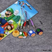5pcs/set Super Mario Wario Cellphone Pendant Action Figures Colorful Mushroomhead Japan Anime Collection Kids Toys #F