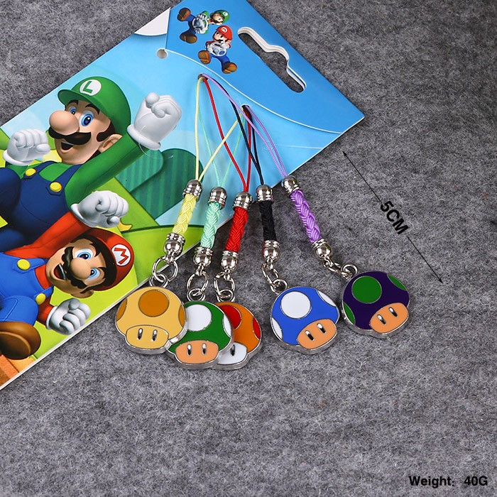 5pcs/set Super Mario Wario Cellphone Pendant Action Figures Colorful Mushroomhead Japan Anime Collection Kids Toys #F(China (Mainland))