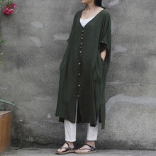 2016 female new summer and autumn Linen short-sleeve loose big pocket dress single breasted robe long cardigan