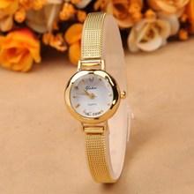2015 mujeres de moda vestido de oro relojes reloj de la marca rhinestone de la pulsera relojes de pulsera de cuarzo