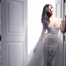 Buy Sexy Two One Lace Wedding Dresses V Neck Sheer Bridal Gowns Beaded Puffy Detachable Tulle Train Sheath Vestido De Noiva for $262.03 in AliExpress store