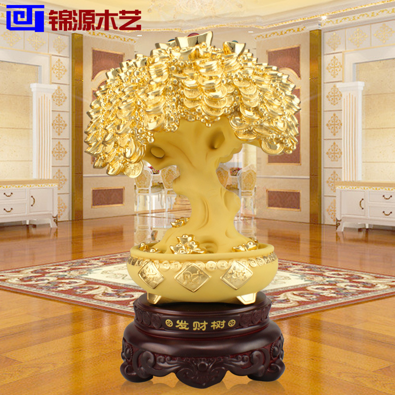 Jinyuan wooden room Home Furnishing resin handicraft ornaments wholesale wood rich tree ornaments(China (Mainland))