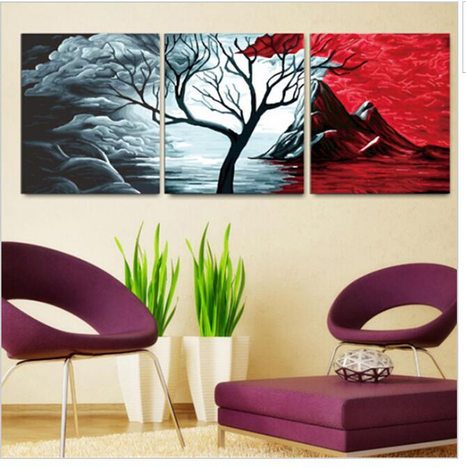 3pcs/set 50x150cm DIY Oil Painting By Numbers DIY Digital Oil Painting On Canvas Home Decoration Volcano Scenery Art Work HD0471(China (Mainland))