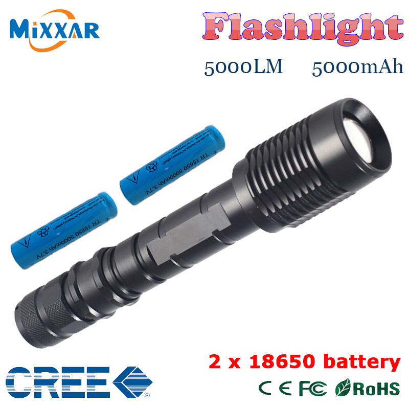 ZK30 LED Flashlight V5 CREE XM-L T6 5000Lumens 5-Mode LED Torch lanterna light Adjustable Waterproof Climbing Hunting Lamp(China (Mainland))