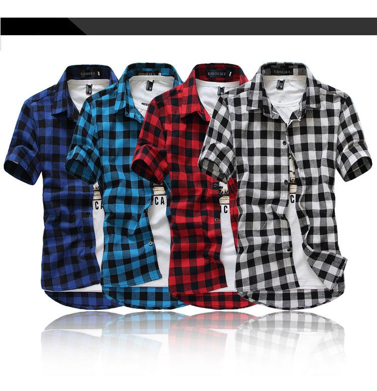 2015 new young boy short sleeve mens dress shirts grid casual camisas masculina plaid social slim fit hombre blusas roupas  -  DT boutique store
