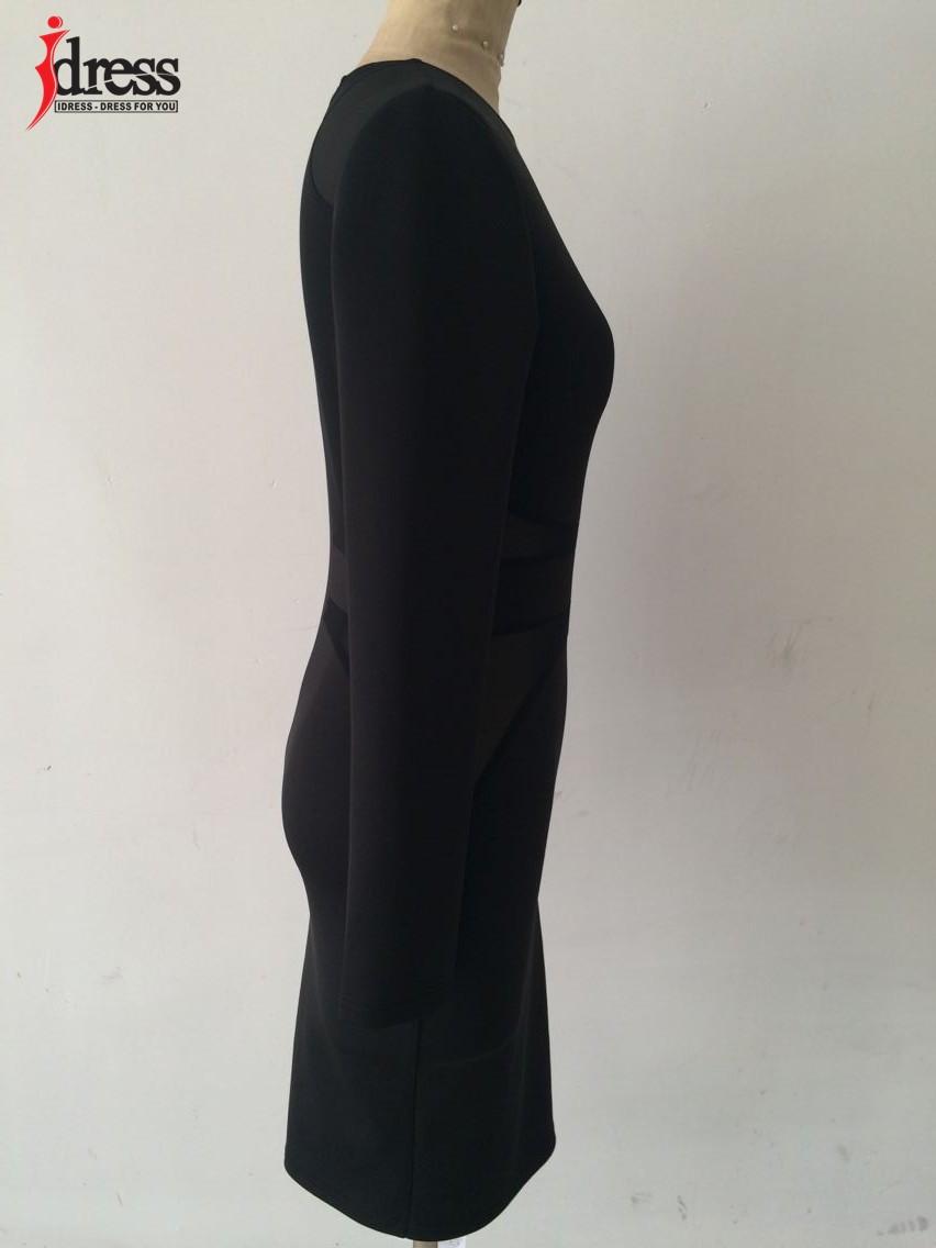 IDress 2016 Autumn Winter Women Fashion Black Mesh Patchwork Sexy Bodycon Dresses Long Sleeve Wholesale Drop Ship Vestidos (3)