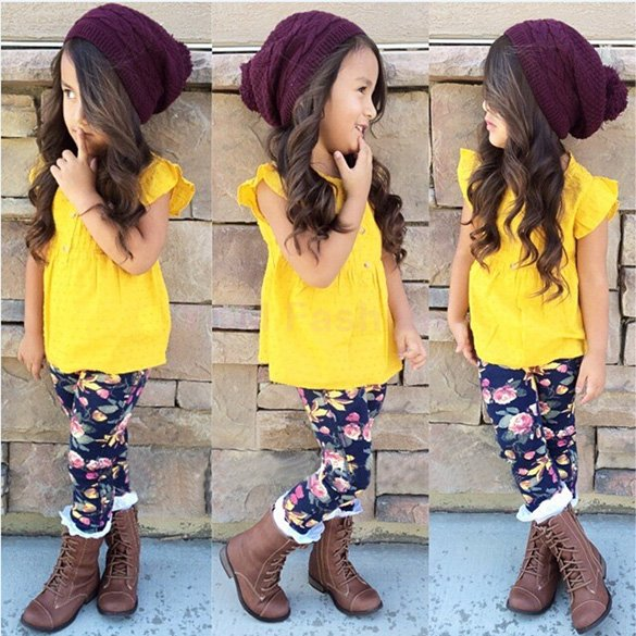 Brand New Girl Blouse Tops + Floral Skinny Tight Pants 2Pcs Children Clothing Set 2015 Fashion Summer Style Kids Clothes Meninas(China (Mainland))