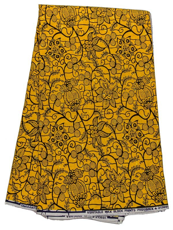 African Latest Fabric Real Wax Yellow Flower Design 100% Cotton 6 Yards rw213691(China (Mainland))