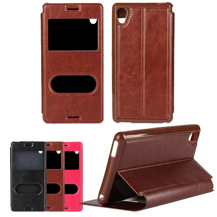 Leather Mobile Phone Bag For Sony Xperia M4 Aqua Flip Cases Soft Cover Fundas Smart Answer Window Phone Bag Case Cover Coque(China (Mainland))