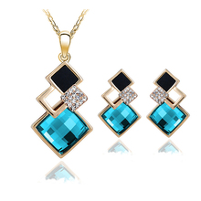 New Fashion womens Geometry square jewellery set of blue wedding jewerly sets for women with Sapphire african Female Jewelry set(China (Mainland))