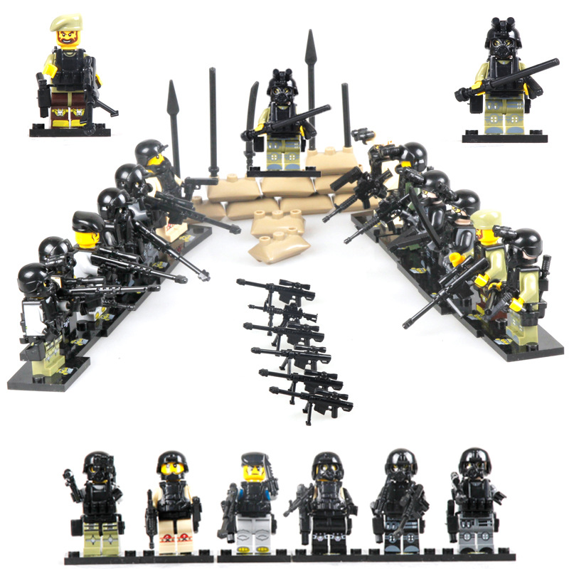 1City police Swat team CS Commando Minifigures Army soldiers Weapon Gun Building Blocks Compatible Legoes Military Toy - COASTLINE TOY store