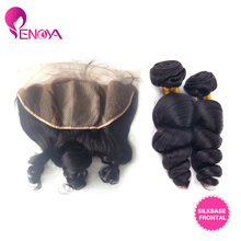 Malaysian Virgin Hair 2 Bundles Loose Wave with Silk Base Full Lace Frontal Free Part 13″X4″ Bleached Knots